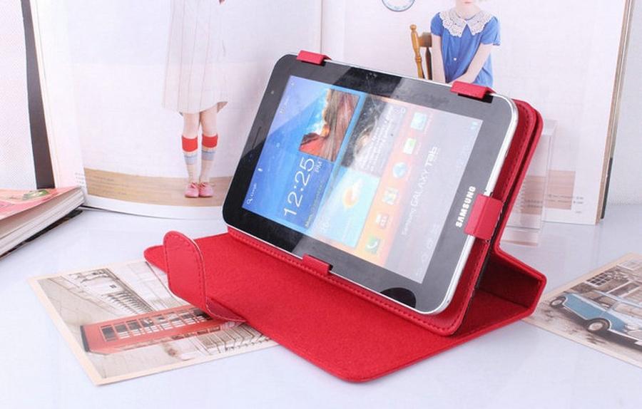 "Univerzální kožené pouzdro - barevné Červená 7"" tablet + DOPRAVA ZDARMA"